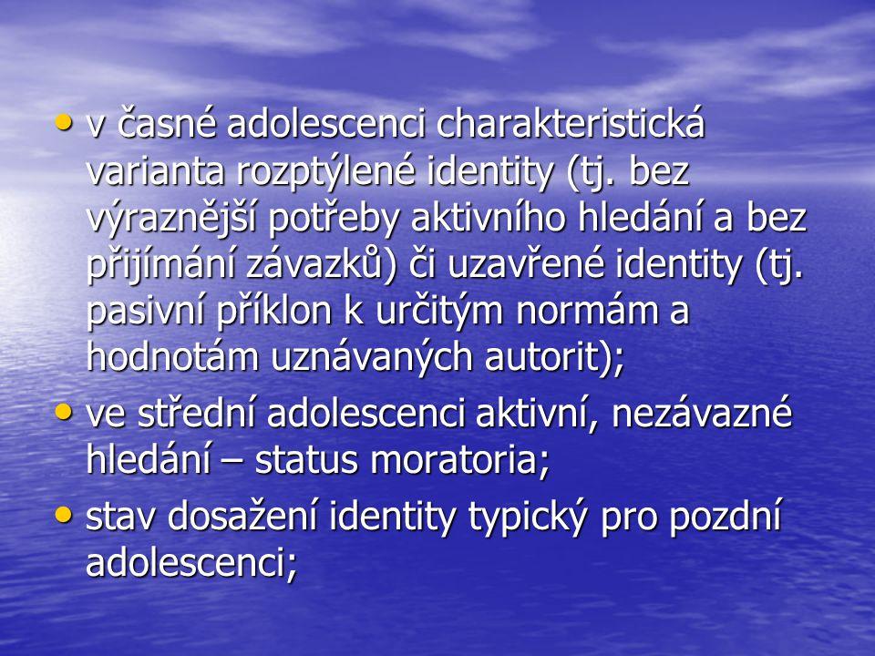 v časné adolescenci charakteristická varianta rozptýlené identity (tj.