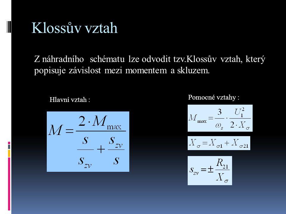 Klossův vztah Z náhradního schématu lze odvodit tzv.Klossův vztah, který popisuje závislost mezi momentem a skluzem. Hlavní vztah : Pomocné vztahy :