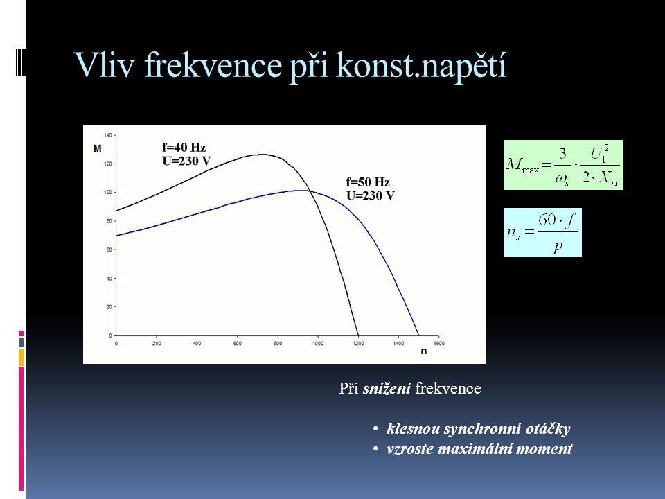 Vliv frekvence při U/f = konst. Maximální moment se nemění se změnou frekvence
