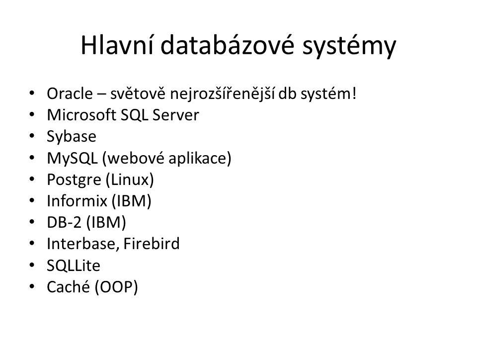 Hlavní databázové systémy Oracle – světově nejrozšířenější db systém! Microsoft SQL Server Sybase MySQL (webové aplikace) Postgre (Linux) Informix (IB