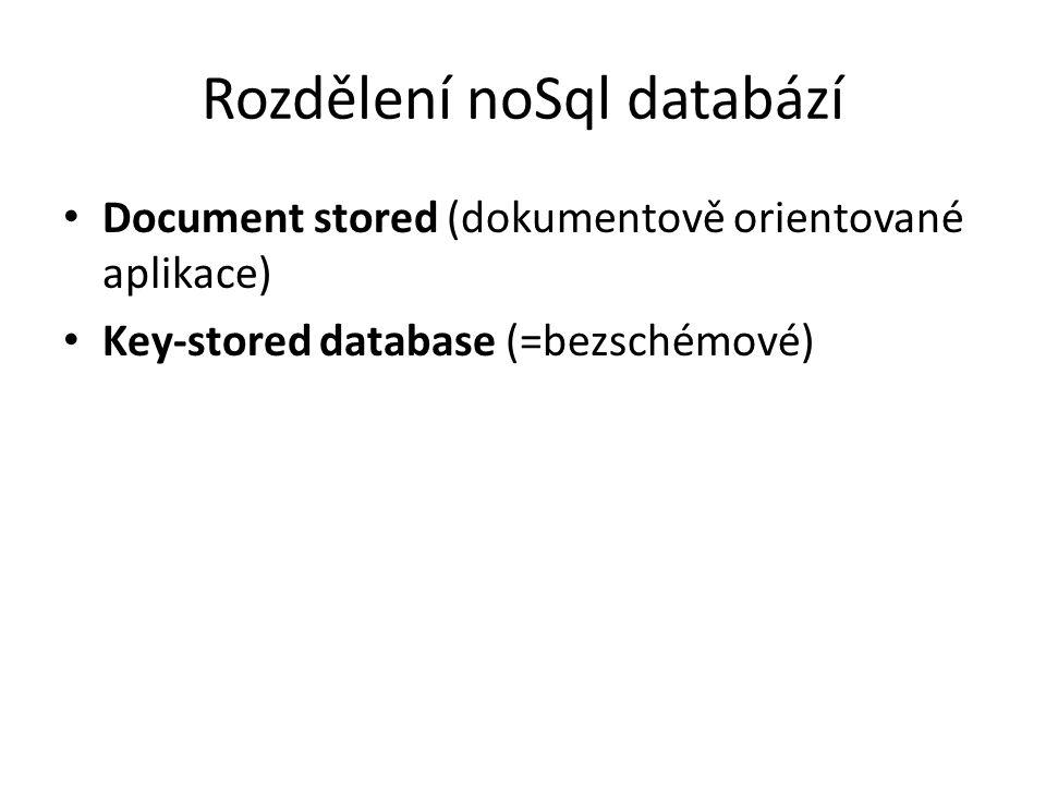 Rozdělení noSql databází Document stored (dokumentově orientované aplikace) Key-stored database (=bezschémové)