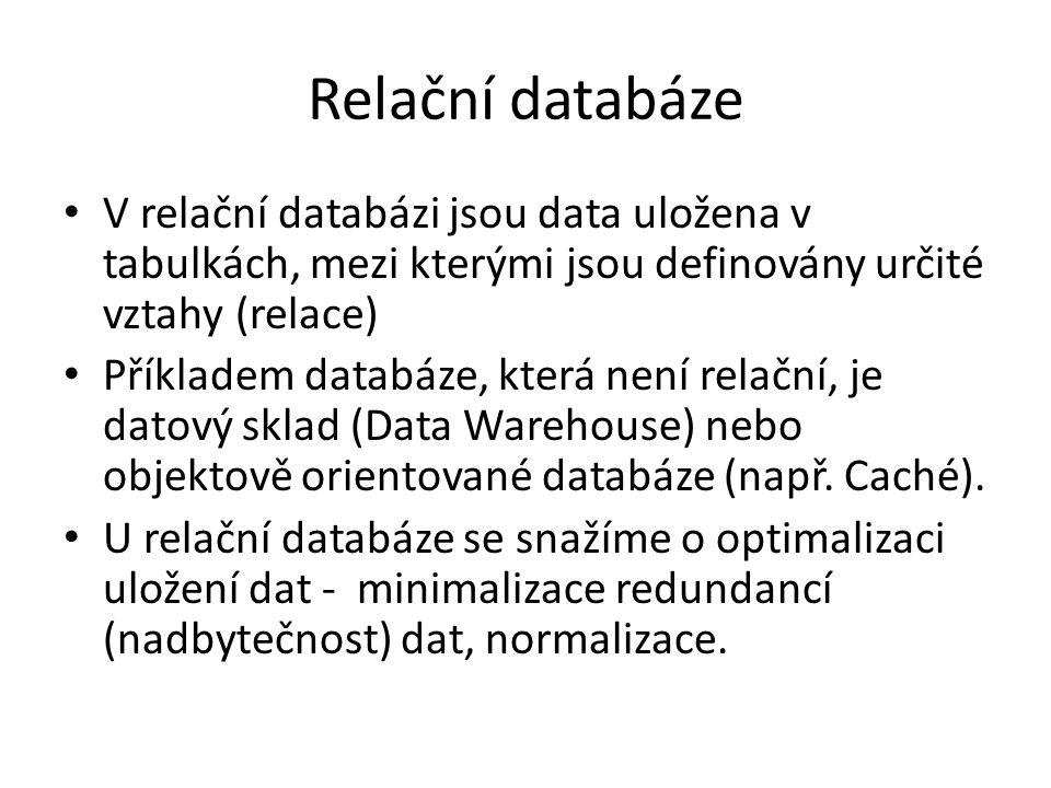 Relační databáze V relační databázi jsou data uložena v tabulkách, mezi kterými jsou definovány určité vztahy (relace) Příkladem databáze, která není