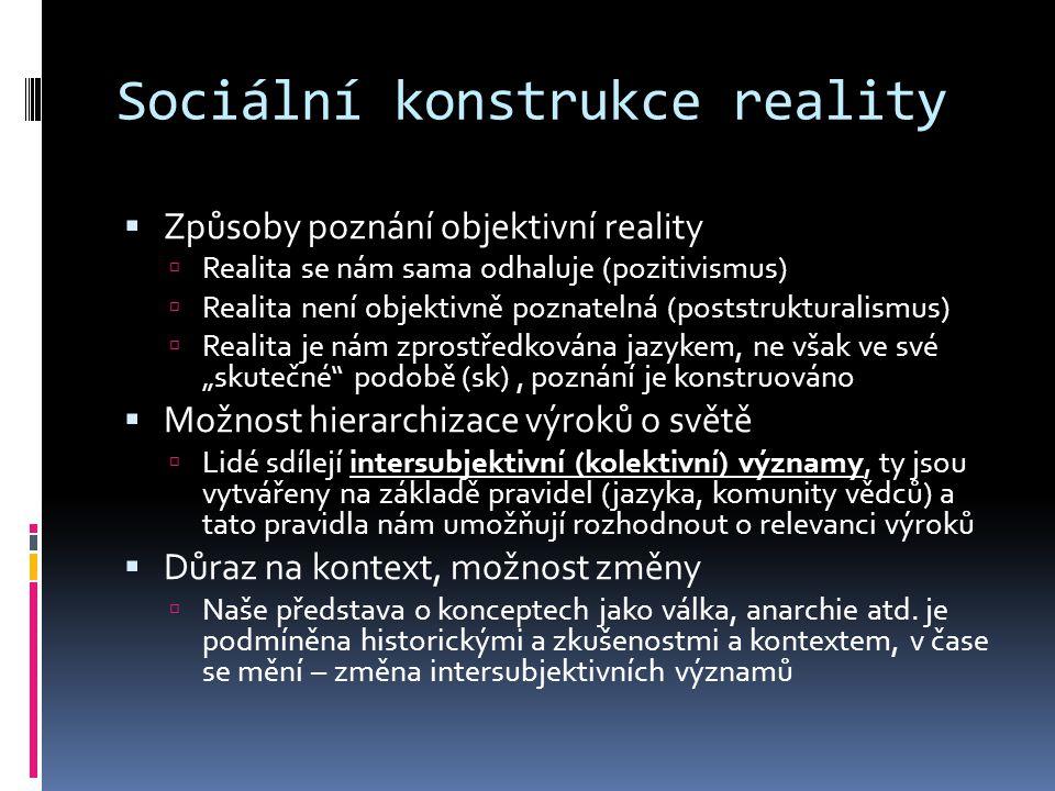 Sociální konstrukce reality  Způsoby poznání objektivní reality  Realita se nám sama odhaluje (pozitivismus)  Realita není objektivně poznatelná (p