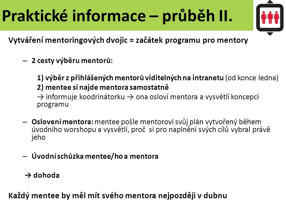 Praktické informace – průběh II. Vytváření mentoringových dvojic = začátek programu pro mentory – 2 cesty výběru mentorů: 1) výběr z přihlášených ment