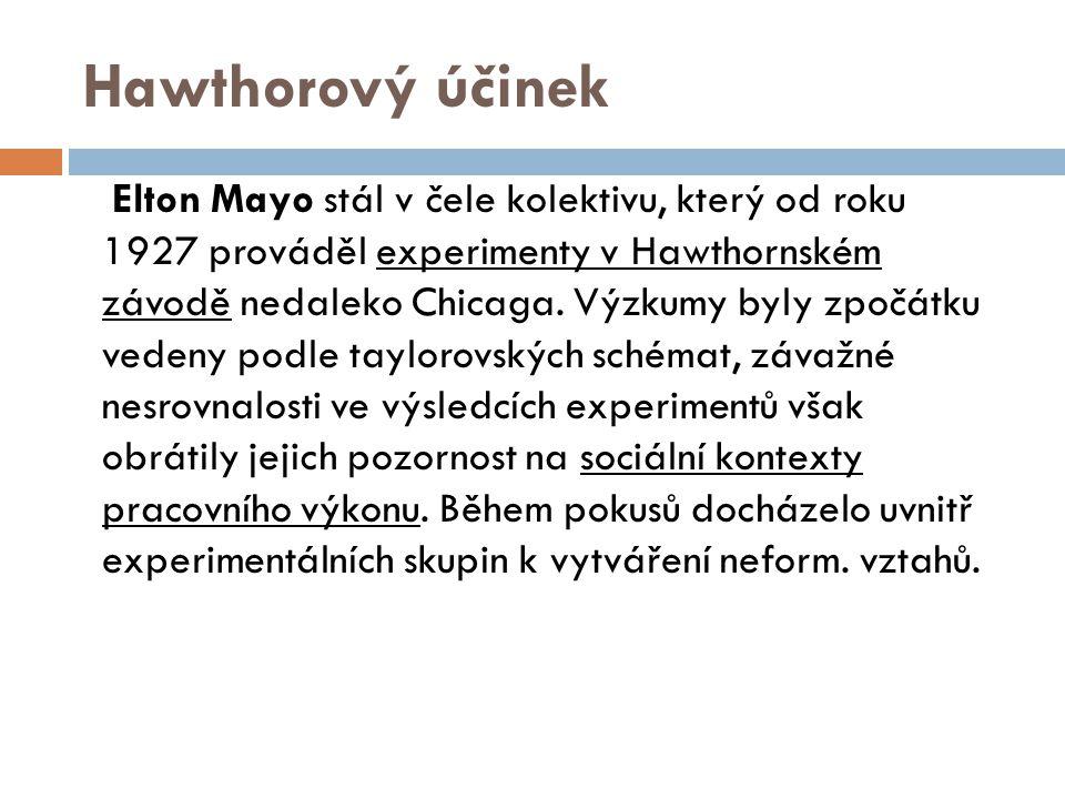 Hawthorový účinek Elton Mayo stál v čele kolektivu, který od roku 1927 prováděl experimenty v Hawthornském závodě nedaleko Chicaga. Výzkumy byly zpočá