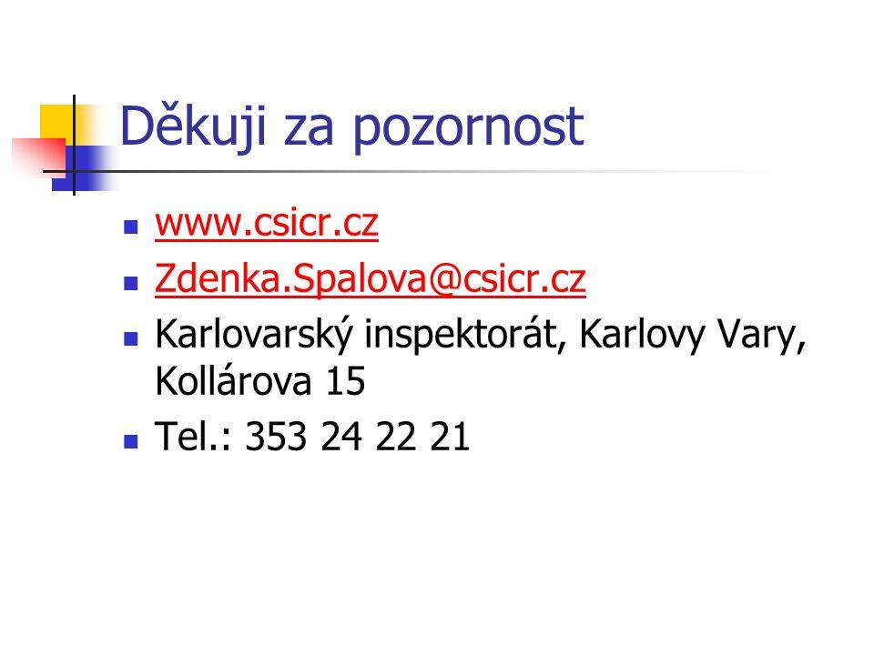 Děkuji za pozornost www.csicr.cz Zdenka.Spalova@csicr.cz Karlovarský inspektorát, Karlovy Vary, Kollárova 15 Tel.: 353 24 22 21