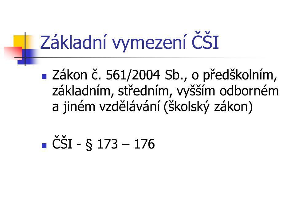 Základní vymezení ČŠI Zákon č. 561/2004 Sb., o předškolním, základním, středním, vyšším odborném a jiném vzdělávání (školský zákon) ČŠI - § 173 – 176