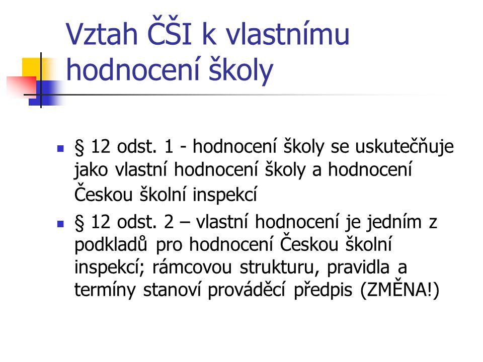 Vztah ČŠI k vlastnímu hodnocení školy § 12 odst. 1 - hodnocení školy se uskutečňuje jako vlastní hodnocení školy a hodnocení Českou školní inspekcí §