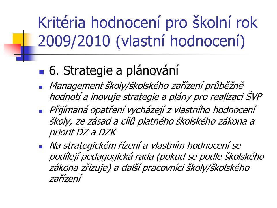 Kritéria hodnocení pro školní rok 2009/2010 (vlastní hodnocení) 6. Strategie a plánování Management školy/školského zařízení průběžně hodnotí a inovuj