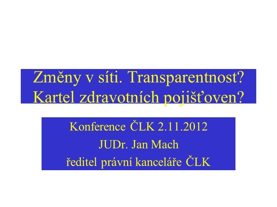 Změny v síti. Transparentnost? Kartel zdravotních pojišťoven? Konference ČLK 2.11.2012 JUDr. Jan Mach ředitel právní kanceláře ČLK