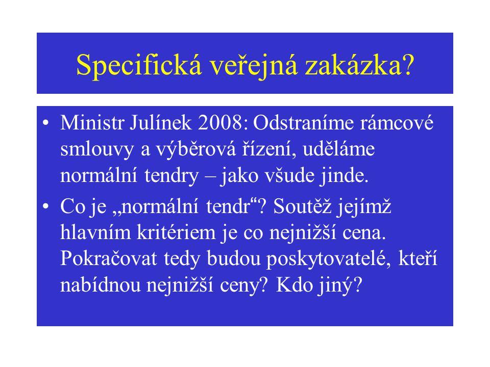 """Specifická veřejná zakázka? Ministr Julínek 2008: Odstraníme rámcové smlouvy a výběrová řízení, uděláme normální tendry – jako všude jinde. Co je """"nor"""