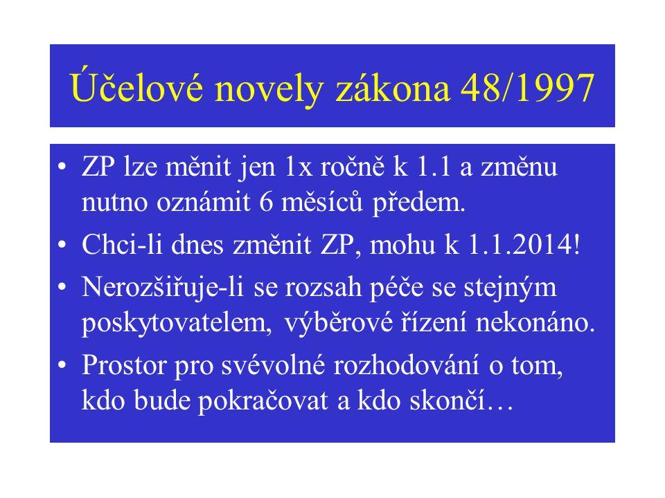 Účelové novely zákona 48/1997 ZP lze měnit jen 1x ročně k 1.1 a změnu nutno oznámit 6 měsíců předem. Chci-li dnes změnit ZP, mohu k 1.1.2014! Nerozšiř