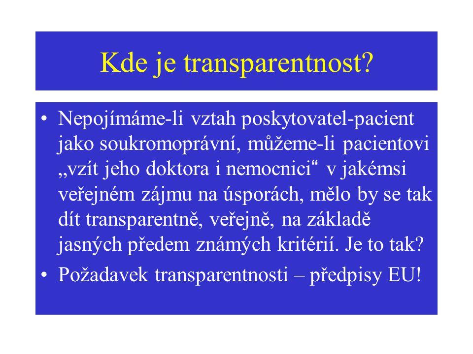 """Kde je transparentnost? Nepojímáme-li vztah poskytovatel-pacient jako soukromoprávní, můžeme-li pacientovi """"vzít jeho doktora i nemocnici"""" v jakémsi v"""