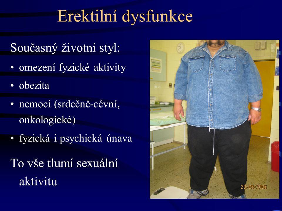 Erektilní dysfunkce Současný životní styl: omezení fyzické aktivity obezita nemoci (srdečně-cévní, onkologické) fyzická i psychická únava To vše tlumí