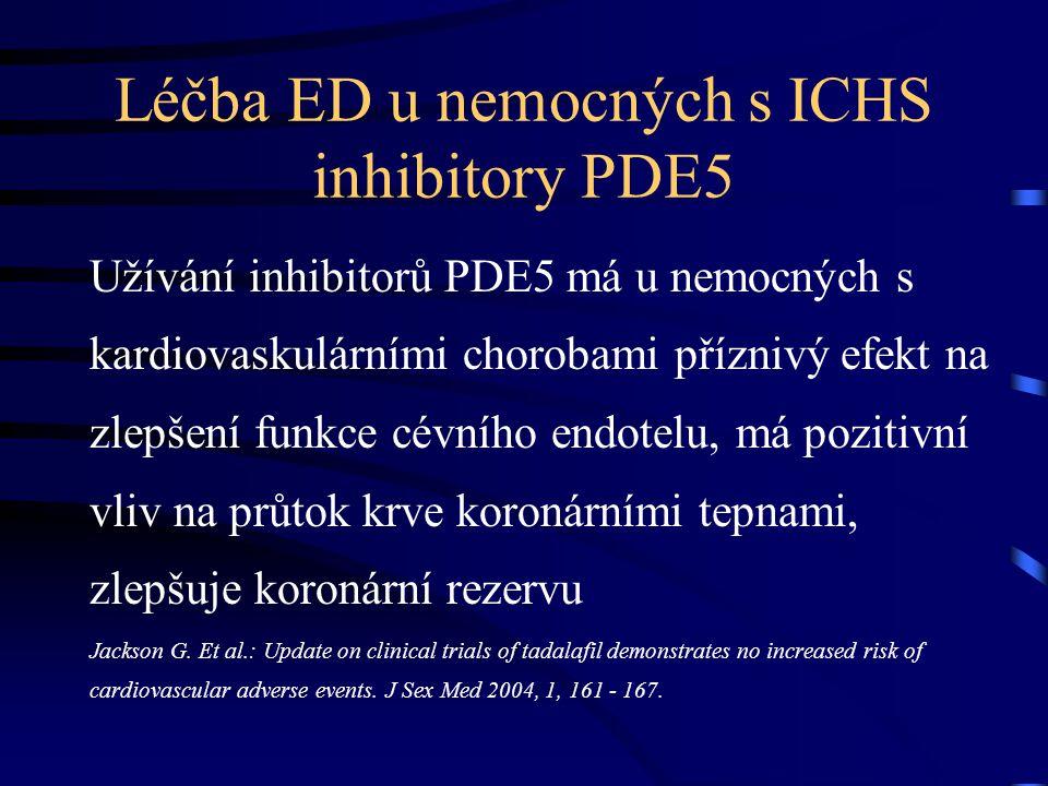 Léčba ED u nemocných s ICHS inhibitory PDE5 Užívání inhibitorů PDE5 má u nemocných s kardiovaskulárními chorobami příznivý efekt na zlepšení funkce cé