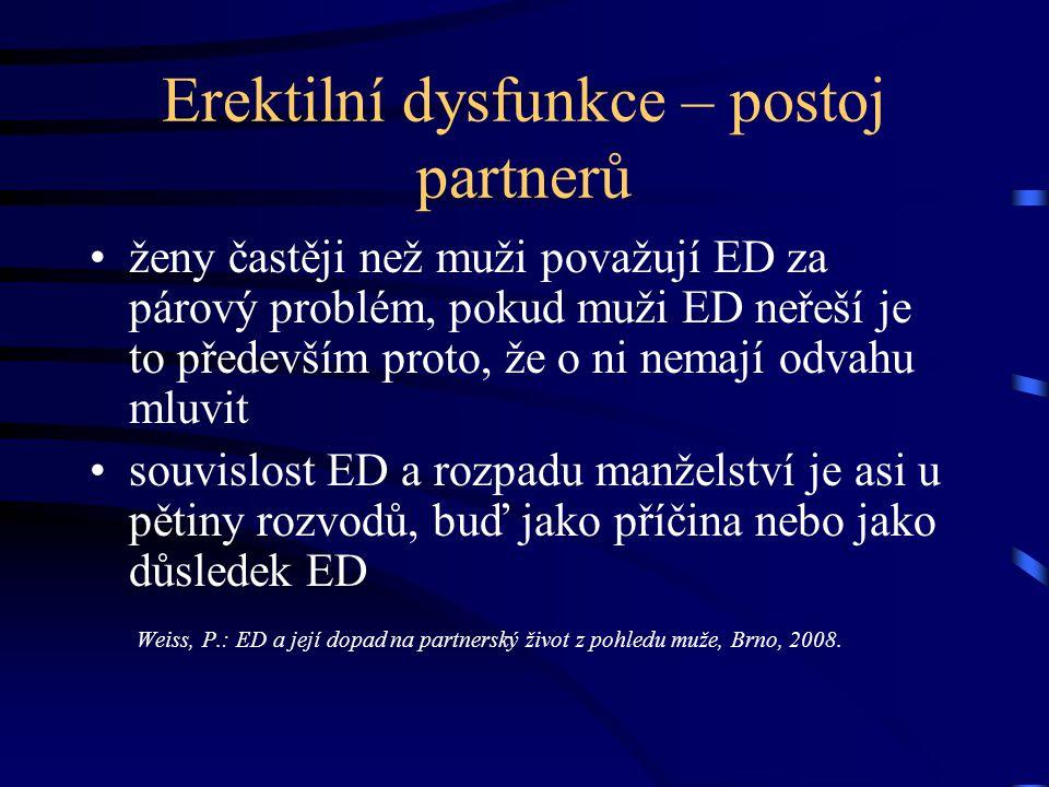 Erektilní dysfunkce – postoj partnerů ženy častěji než muži považují ED za párový problém, pokud muži ED neřeší je to především proto, že o ni nemají