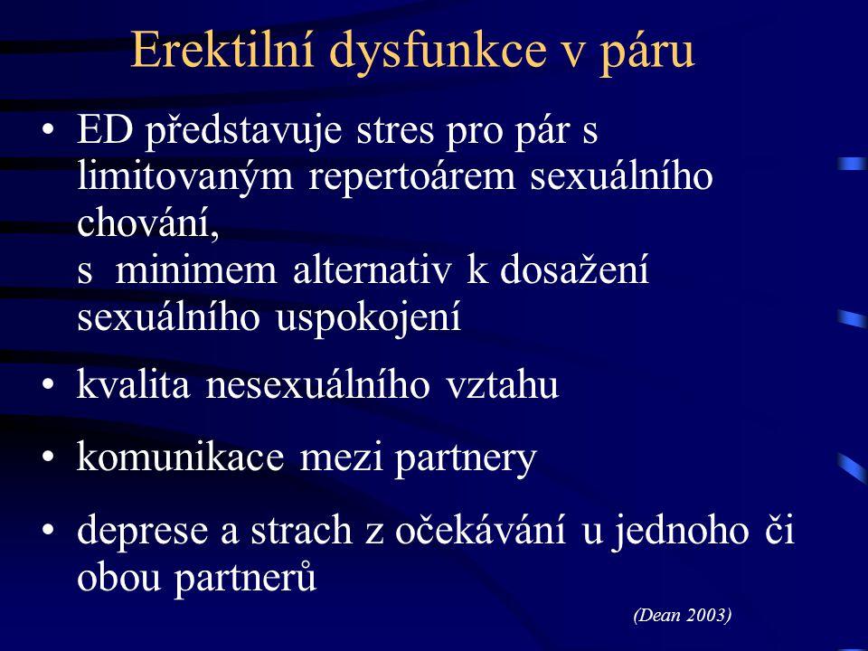 Erektilní dysfunkce v páru ED představuje stres pro pár s limitovaným repertoárem sexuálního chování, s minimem alternativ k dosažení sexuálního uspok
