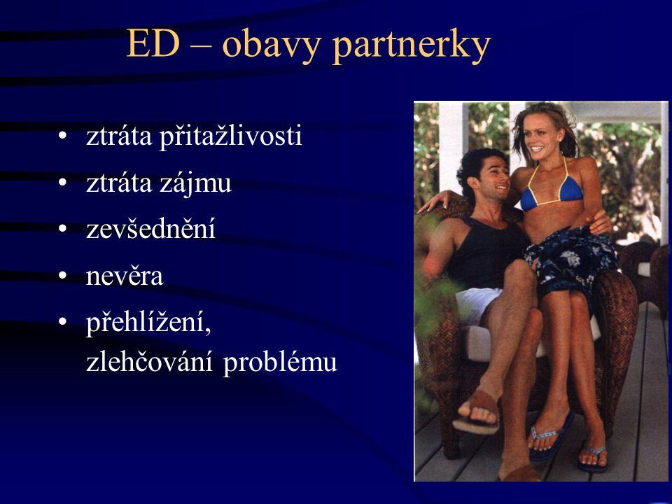 ED – obavy partnerky ztráta přitažlivosti ztráta zájmu zevšednění nevěra přehlížení, zlehčování problému
