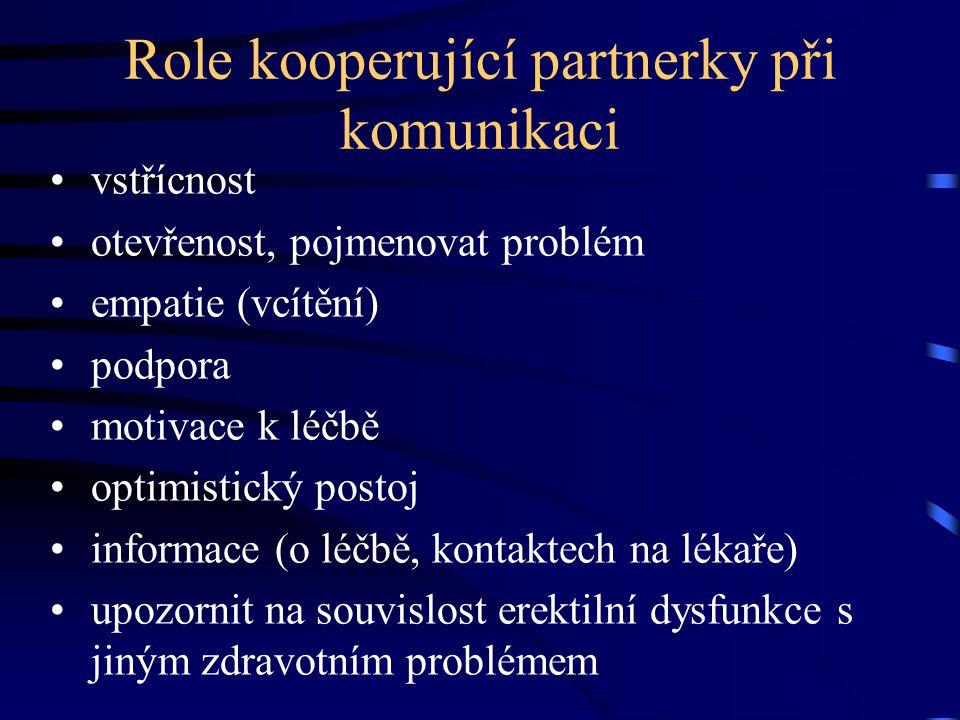 Role kooperující partnerky při komunikaci vstřícnost otevřenost, pojmenovat problém empatie (vcítění) podpora motivace k léčbě optimistický postoj inf