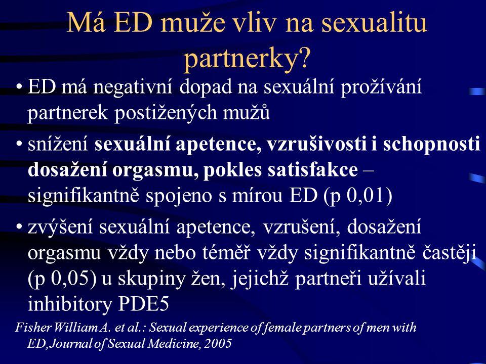 Má ED muže vliv na sexualitu partnerky? ED má negativní dopad na sexuální prožívání partnerek postižených mužů snížení sexuální apetence, vzrušivosti