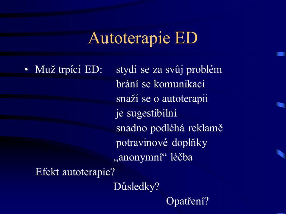 Autoterapie ED Muž trpící ED: stydí se za svůj problém brání se komunikaci snaží se o autoterapii je sugestibilní snadno podléhá reklamě potravinové d