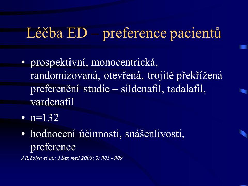 Léčba ED – preference pacientů prospektivní, monocentrická, randomizovaná, otevřená, trojitě překřížená preferenční studie – sildenafil, tadalafil, va