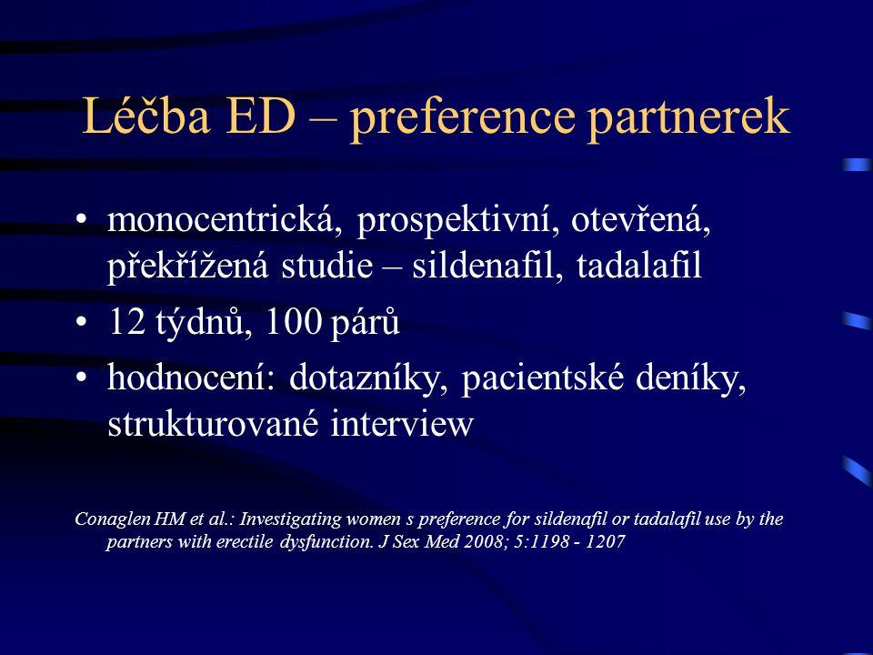 Léčba ED – preference partnerek monocentrická, prospektivní, otevřená, překřížená studie – sildenafil, tadalafil 12 týdnů, 100 párů hodnocení: dotazní