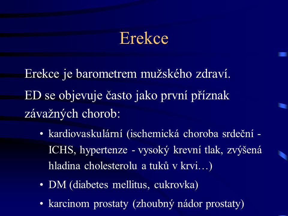 Erekce Erekce je barometrem mužského zdraví. ED se objevuje často jako první příznak závažných chorob: kardiovaskulární (ischemická choroba srdeční -