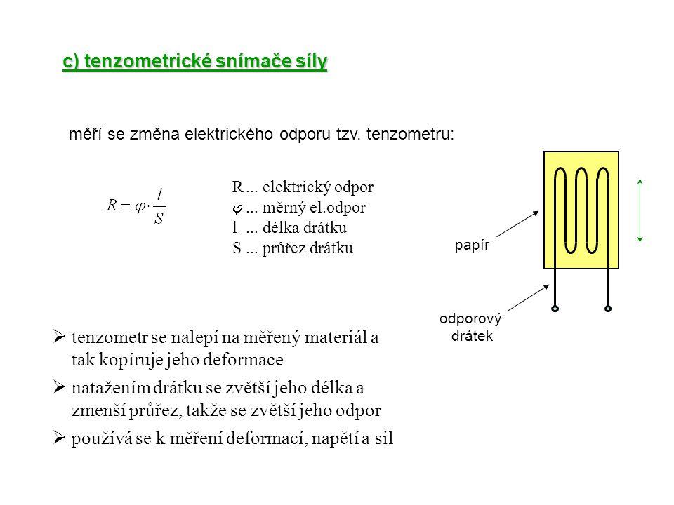 c) tenzometrické snímače síly měří se změna elektrického odporu tzv. tenzometru: odporový drátek papír R... elektrický odpor ... měrný el.odpor l...