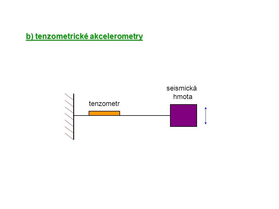 b) tenzometrické akcelerometry seismická hmota tenzometr