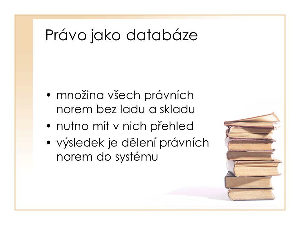 Právo jako databáze množina všech právních norem bez ladu a skladu nutno mít v nich přehled výsledek je dělení právních norem do systému