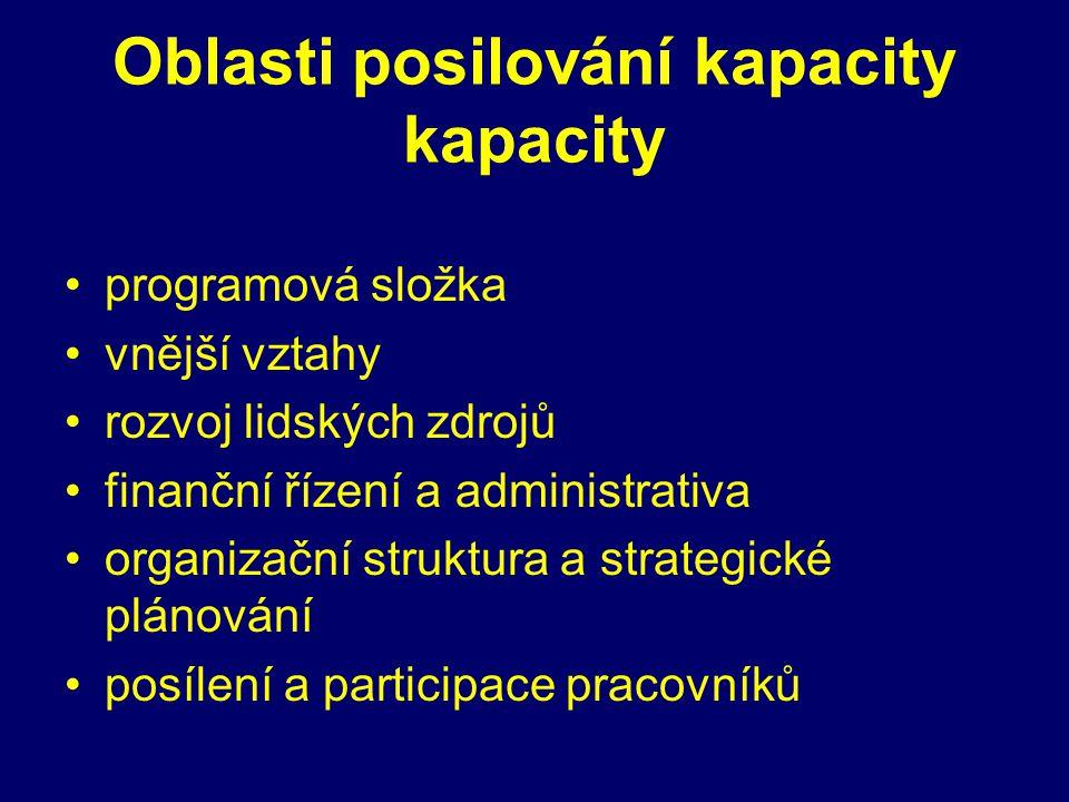 Oblasti posilování kapacity kapacity programová složka vnější vztahy rozvoj lidských zdrojů finanční řízení a administrativa organizační struktura a strategické plánování posílení a participace pracovníků