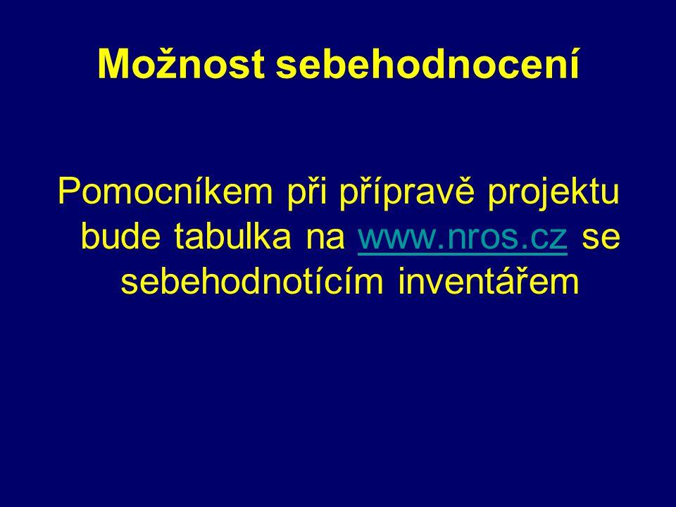 Možnost sebehodnocení Pomocníkem při přípravě projektu bude tabulka na www.nros.cz se sebehodnotícím inventářemwww.nros.cz