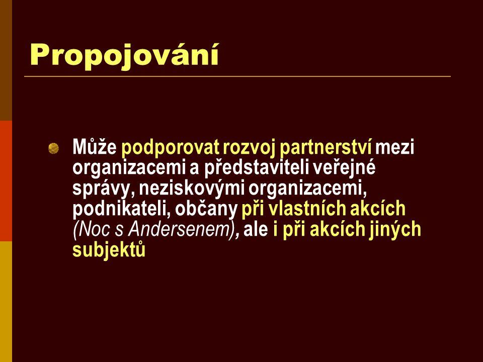 Propojování Může podporovat rozvoj partnerství mezi organizacemi a představiteli veřejné správy, neziskovými organizacemi, podnikateli, občany při vla