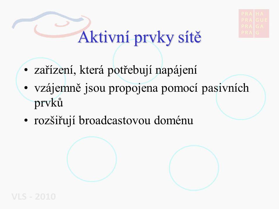 Aktivní prvky sítě zařízení, která potřebují napájení vzájemně jsou propojena pomocí pasivních prvků rozšiřují broadcastovou doménu
