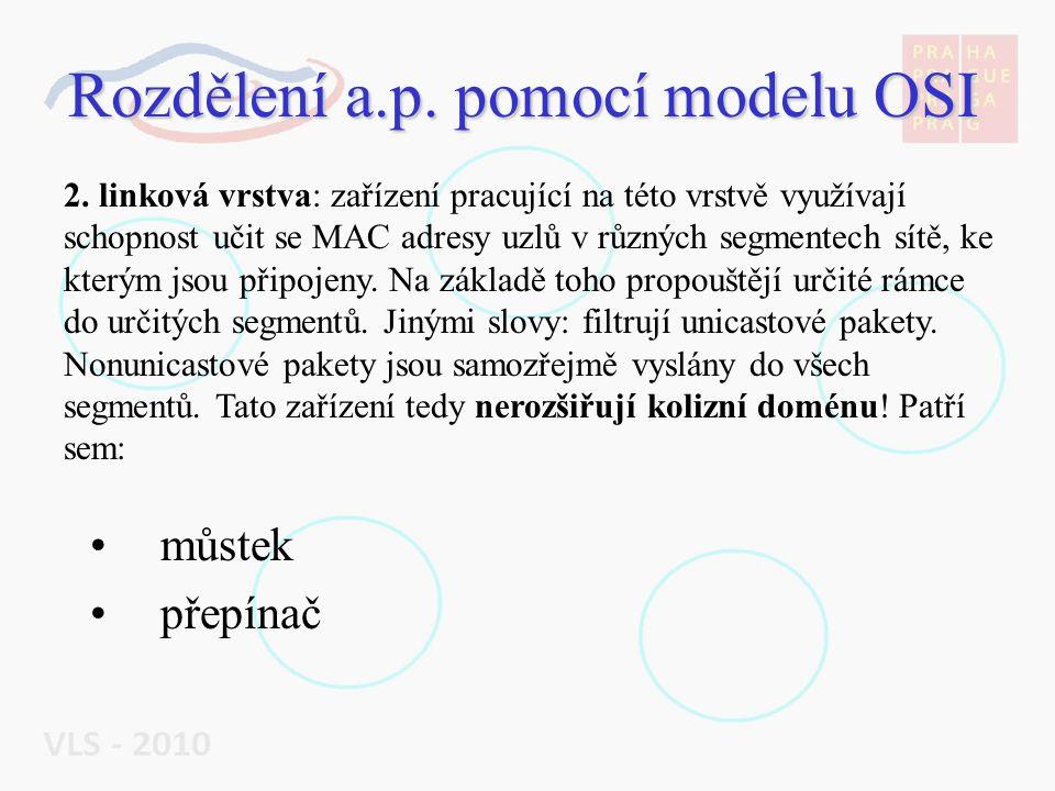 """Rozdělení a.p.pomocí modelu OSI směrovač """"chytrý přepínač 3."""