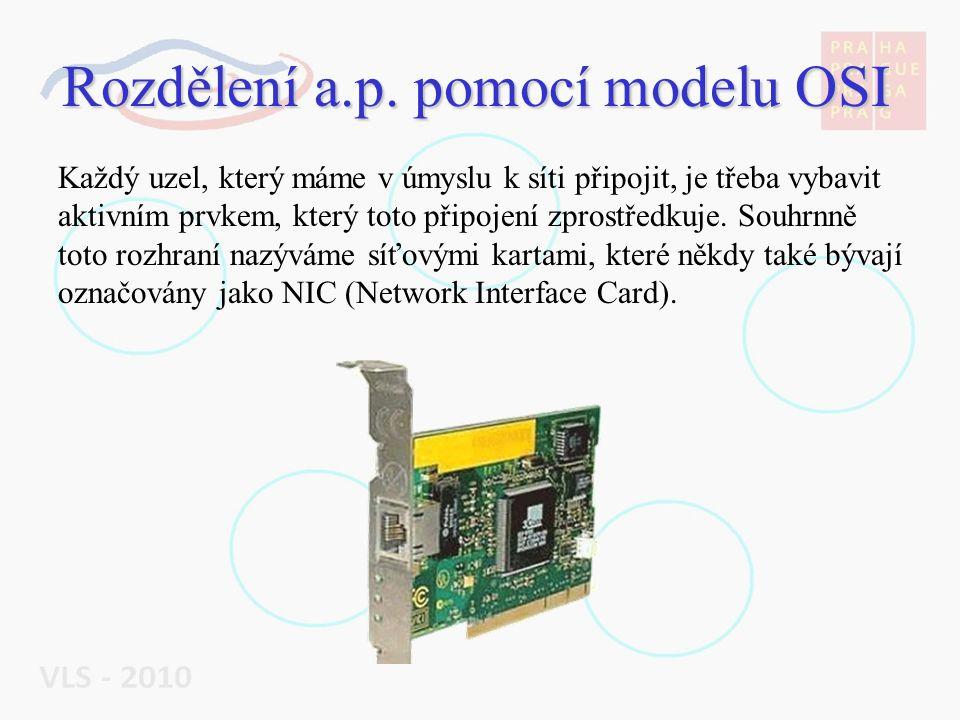 Rozdělení a.p. pomocí modelu OSI Každý uzel, který máme v úmyslu k síti připojit, je třeba vybavit aktivním prvkem, který toto připojení zprostředkuje