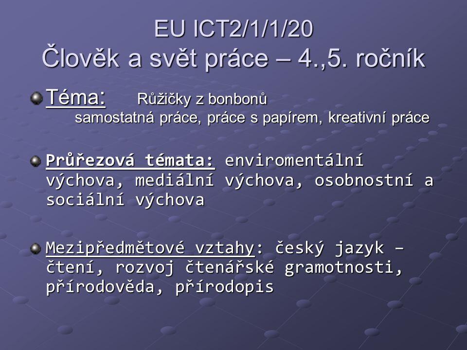 EU ICT2/1/1/20 Člověk a svět práce – 4.,5. ročník Téma : Růžičky z bonbonů samostatná práce, práce s papírem, kreativní práce Průřezová témata: enviro