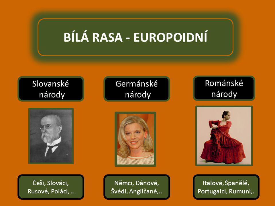 BÍLÁ RASA - EUROPOIDNÍ Slovanské národy Germánské národy Románské národy Češi, Slováci, Rusové, Poláci,..