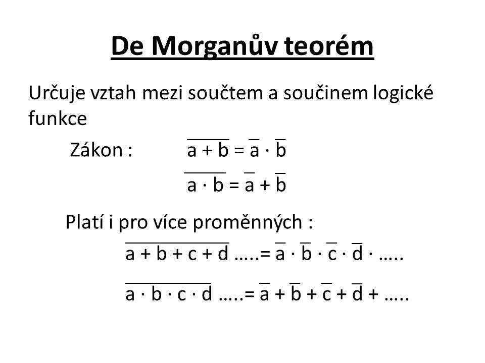 De Morganův teorém Určuje vztah mezi součtem a součinem logické funkce Zákon : a + b = a · b a · b = a + b Platí i pro více proměnných : a + b + c + d