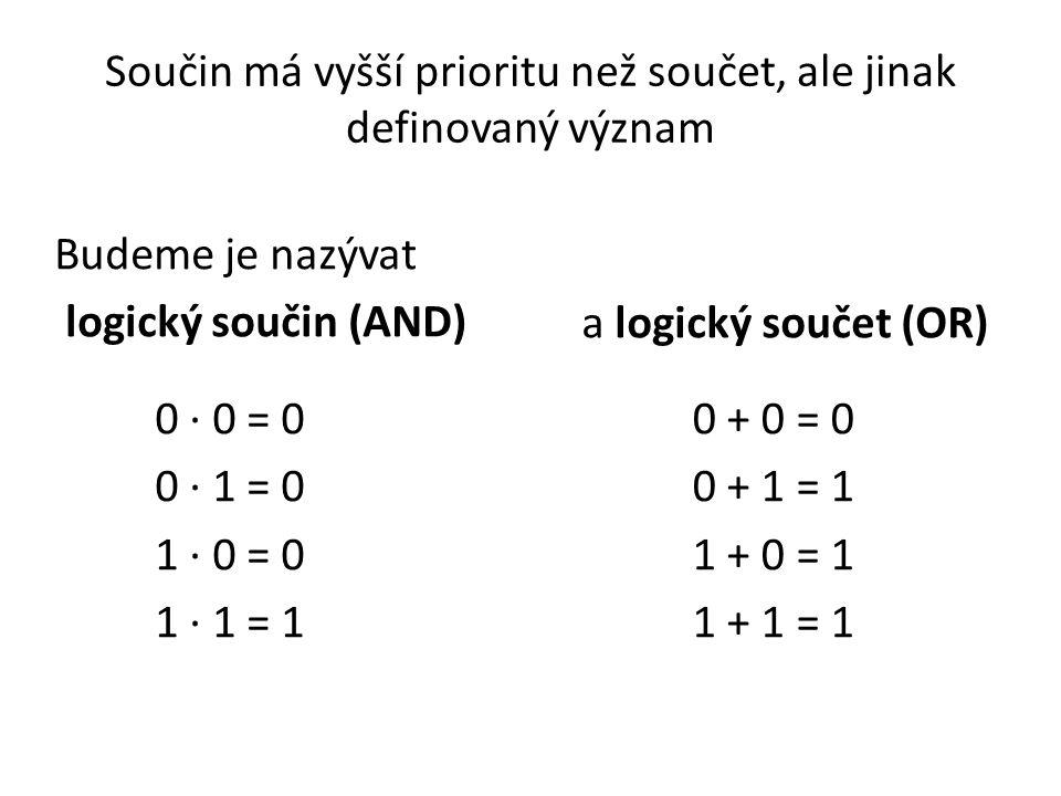 Součin má vyšší prioritu než součet, ale jinak definovaný význam Budeme je nazývat logický součin (AND) 0 · 0 = 0 0 · 1 = 0 1 · 0 = 0 1 · 1 = 1 0 + 0