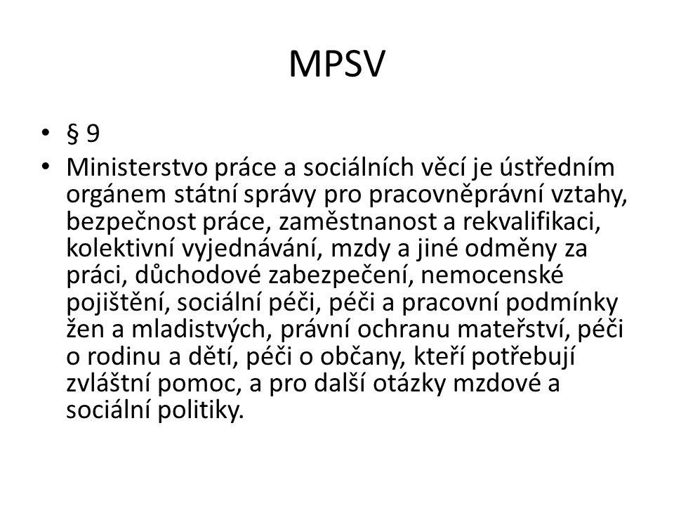MPSV – ústřední orgán státní správy Agenda MPSV Právní činnost MPSV – základní zákony z.