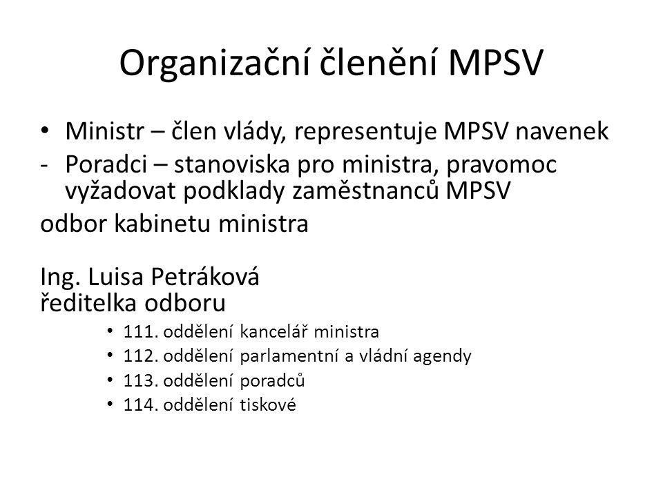 2 Ministr Náměstci Ředitelé odborů Vedoucí zaměstnanci Zaměstnanci s oprávněním řídit jiné zaměstnance + odborné orgány MPSV + instituce přímořízené MPSV