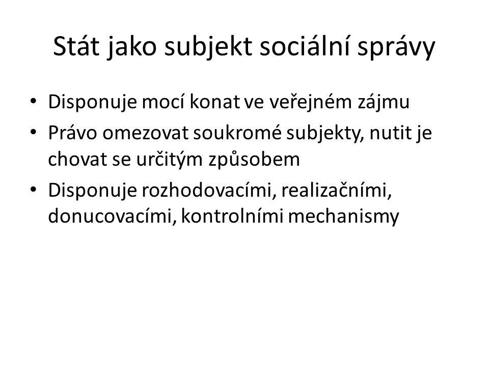 Stát jako subjekt sociální správy - 2 Úkoly státu -Regulovat (pravidla pro chování soukromých institucí) -Chránit (nařídit a vynucovat určité chování občanů) -Pečovat (poskytuje dávky a služby)