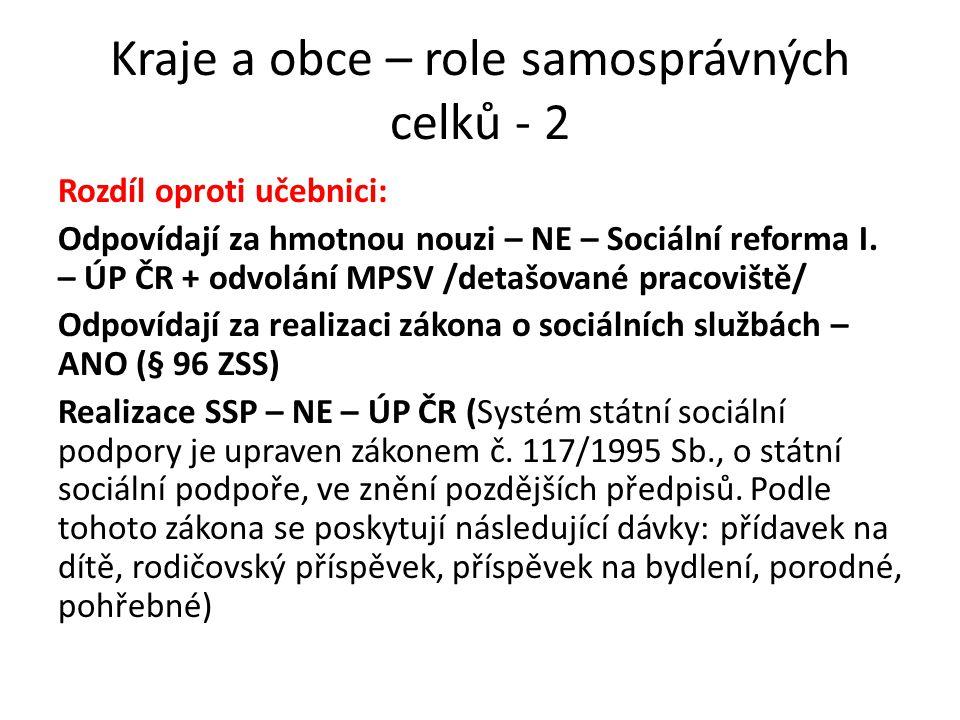 Role samosprávných oborových a profesních celků Subjekty sociální správy a)Personální – korporace, komory b)Majetkové – fondy, nadace