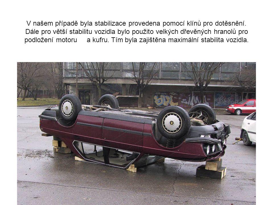VOZIDLO NA STŘEŠE Podepřete a zaklínujte pod vyztuženými částmi sloupků A,B,C vozidla tam, kde je patrná mezera mezi zemí. V případě poškození střechy