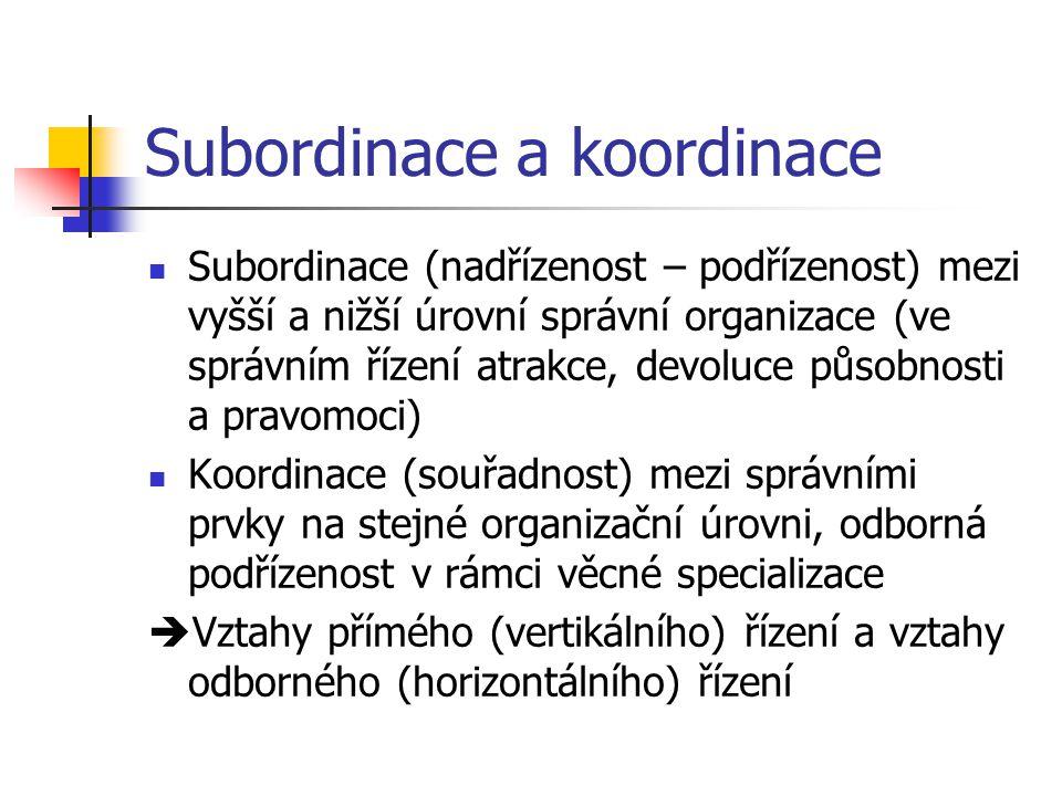 Subordinace a koordinace Subordinace (nadřízenost – podřízenost) mezi vyšší a nižší úrovní správní organizace (ve správním řízení atrakce, devoluce působnosti a pravomoci) Koordinace (souřadnost) mezi správními prvky na stejné organizační úrovni, odborná podřízenost v rámci věcné specializace  Vztahy přímého (vertikálního) řízení a vztahy odborného (horizontálního) řízení