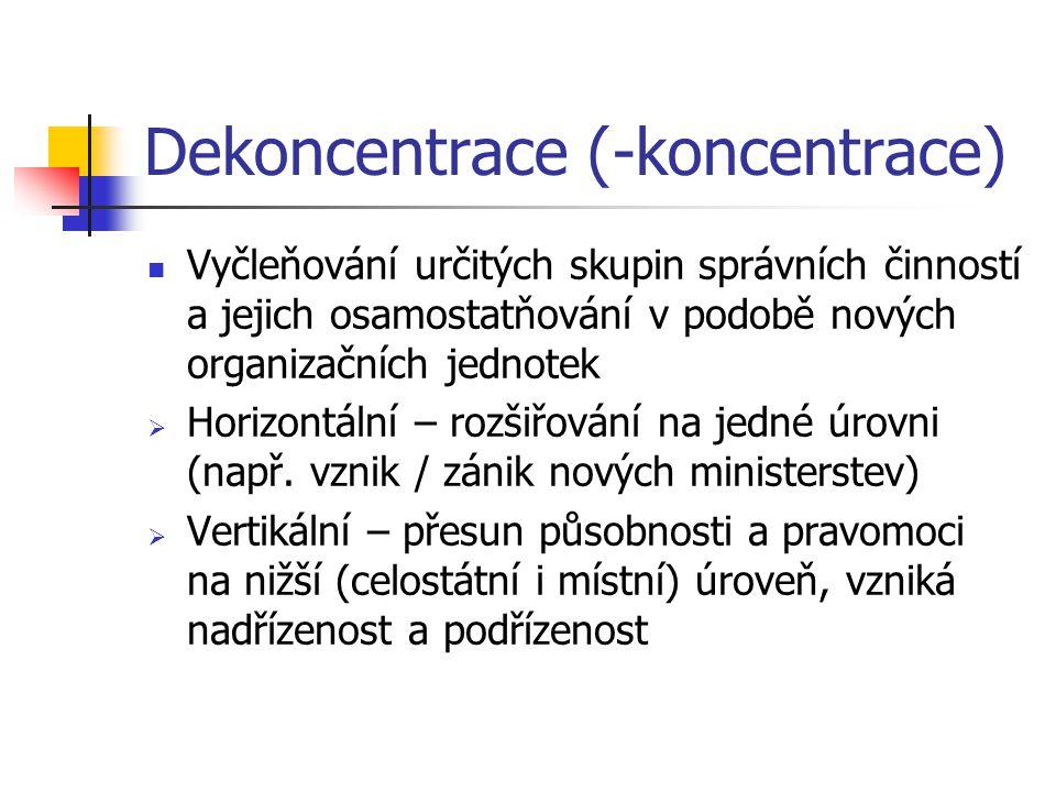 Dekoncentrace (-koncentrace) Vyčleňování určitých skupin správních činností a jejich osamostatňování v podobě nových organizačních jednotek  Horizontální – rozšiřování na jedné úrovni (např.