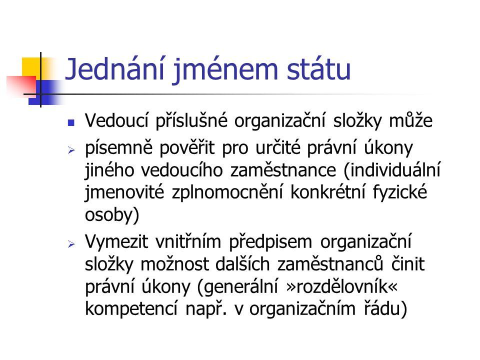 Jednání jménem státu Vedoucí příslušné organizační složky může  písemně pověřit pro určité právní úkony jiného vedoucího zaměstnance (individuální jmenovité zplnomocnění konkrétní fyzické osoby)  Vymezit vnitřním předpisem organizační složky možnost dalších zaměstnanců činit právní úkony (generální »rozdělovník« kompetencí např.