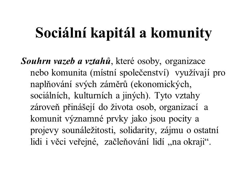 Sociální kapitál a komunity Souhrn vazeb a vztahů, které osoby, organizace nebo komunita (místní společenství) využívají pro naplňování svých záměrů (